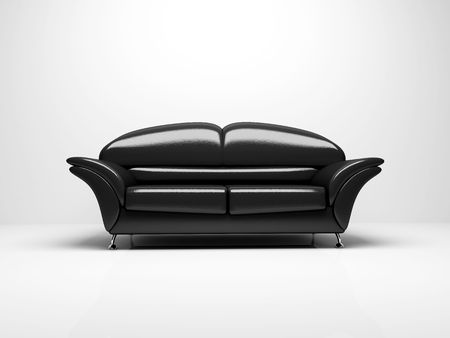 insulated: Black sofa on white background  insulated 3d Stock Photo