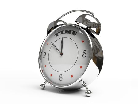 Metallic alarm clock isolated on white background 3D Stock Photo