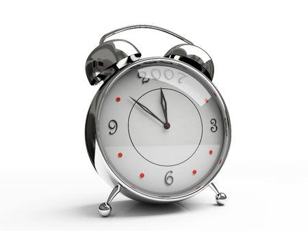 Metallic alarm clock isolated on white background 3D photo