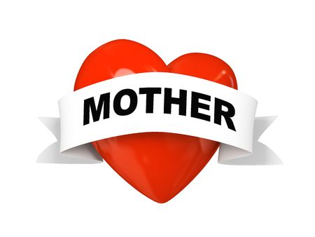 Valentine heart with label mother isolated on white background 3D photo