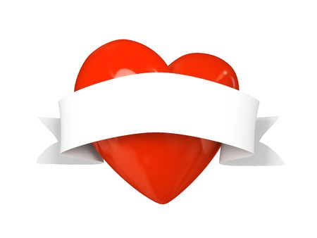 Valentine heart with tape isolated on white background 3D photo