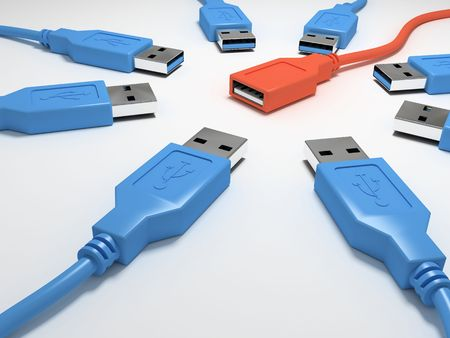 Eight blue usb connectors and one red 3D photo