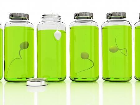 esperma: Varios bancos de esperma en fondo blanco  Foto de archivo
