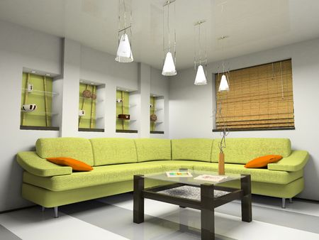 jalousie: Interior with green sofa and bamboo jalousie