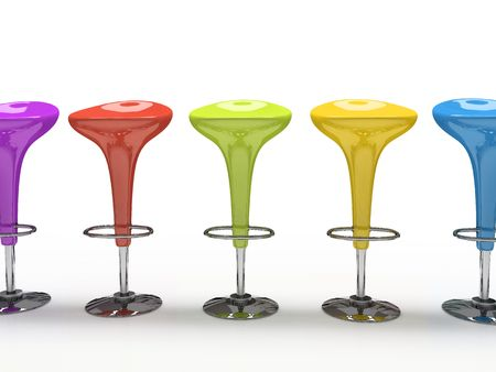 Stylish  colorful cafeteria chair isolated on black background Stock Photo