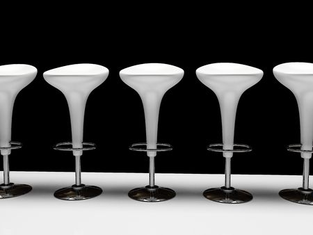 Stylish white cafeteria chair isolated on black background photo