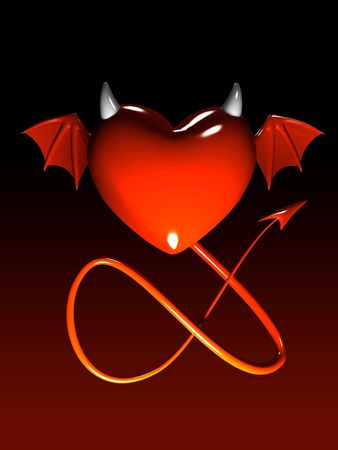 Red heart-devil isolated on gradient 3D photo