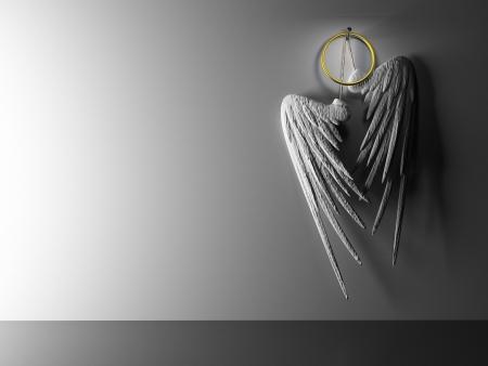 black gods: Interior pair white wings hinging on wall Stock Photo