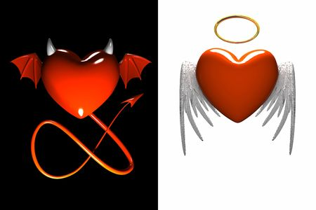 рожки: Red heart-devil and red heart-angel with wings isolated
