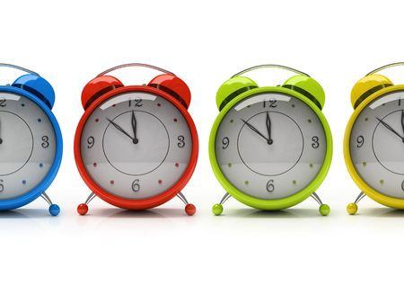Four colorful alarm clocks isolated on white background 3D photo