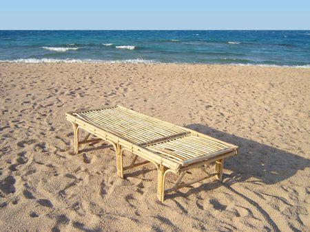 beatitude: Bamboo chaise longue on beach
