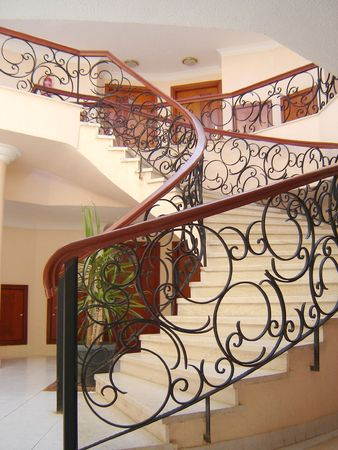 banisters: Interior of hotel with stairway and banisters