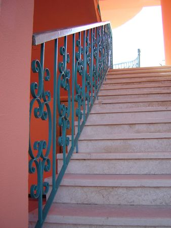 Inter with stairway and banisters with green pattern                          Stock Photo - 812774