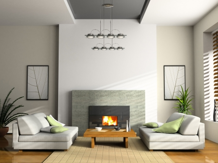 Home interior with fireplace and sofas 3D rendering photo