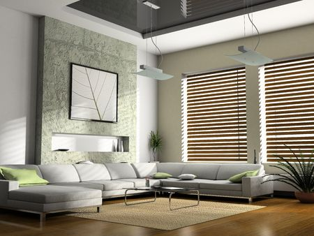 desk tidy: Interior fashionable living-room 3D rendering Stock Photo