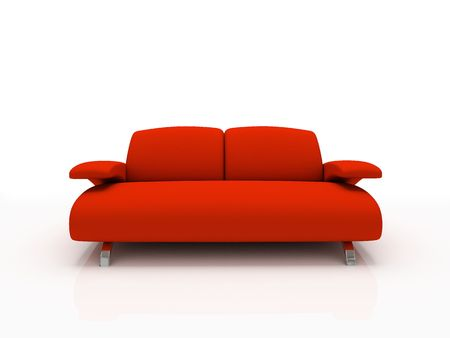 insulated: Red modern sofa on white background  insulated 3d Stock Photo