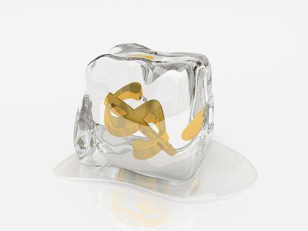 Dollar in Eisw�rfel 3D-Rendering