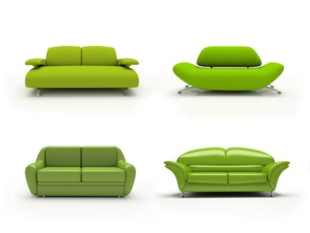 Green four modern sofas on white background  isolated 3d