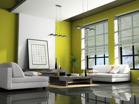 window shade: Inicio interior con sof�s de color verde 3D  Foto de archivo