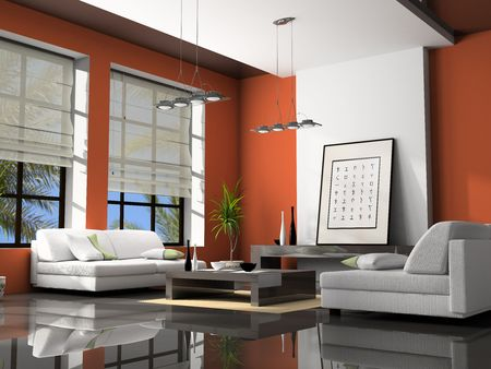 Home interior with sofas red 3D rendering Stock Photo