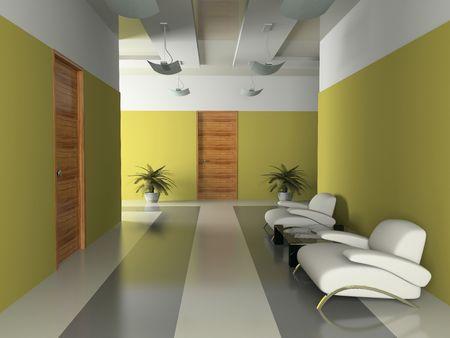 Innenansicht des Korridors im Amt, 3D-Rendering