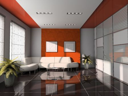 office  interior with orange ceiling 3D rendering Stock Photo