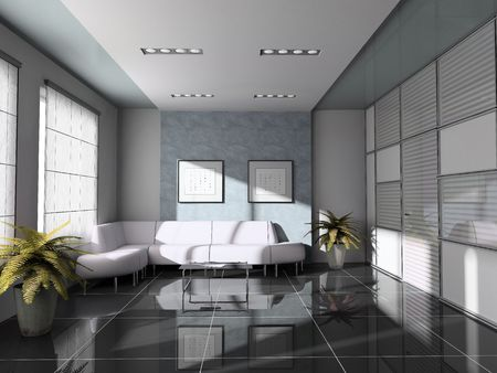 office  interior with white sofa 3D rendering Stock Photo