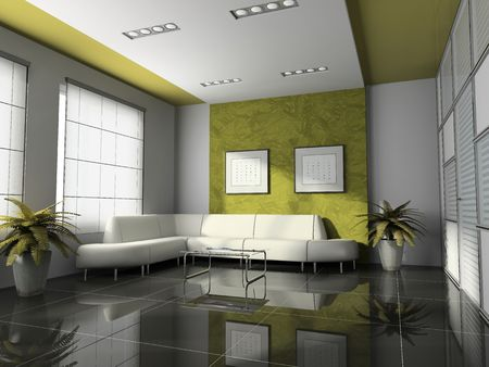 Office interior 3D rendering Stock Photo