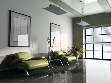 office interior whis two green armchairs 3D rendering