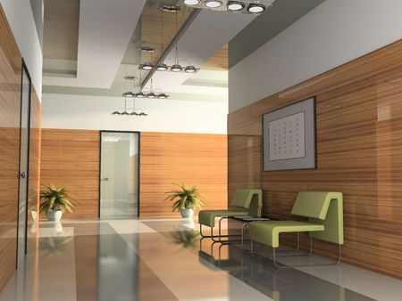 Innenansicht des Korridors im Amt 3D rendering2