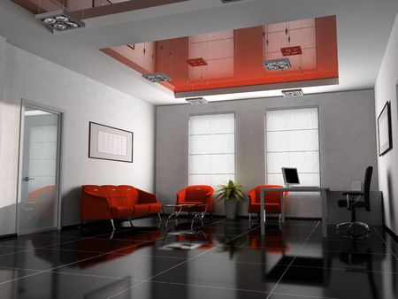 Office interior in red 3D rendering