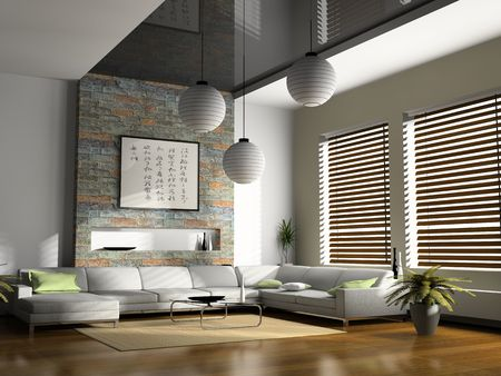 jalousie: Home interior 3D rendering