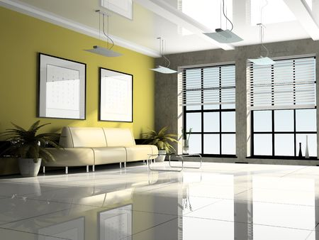Office interior 3D rendering photo