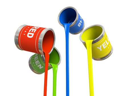 Four banks of multicolored paint 3D rendering Stock Photo - 1236032