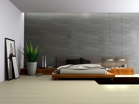 Innenansicht der modernen Schlafzimmer 3D-Rendering
