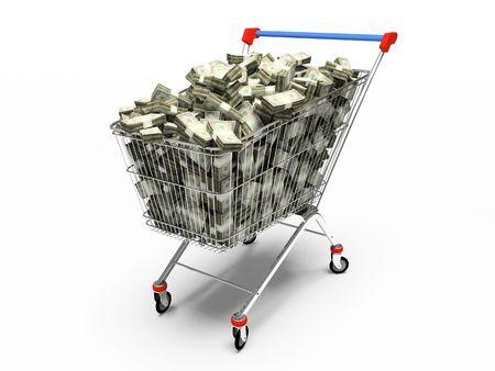 pushcart: Shop pushcart with dollars 3D rendering Stock Photo