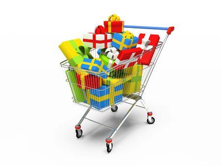 carretilla de mano: Varicoloured cajas de regalo en tienda pushcart 3D  Foto de archivo