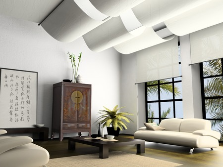 Home interior  with element of Chinese furniture 3D rendering Stock Photo - 1412692