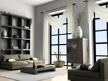 Home interior 3D rendering Stock Photo - 1412690