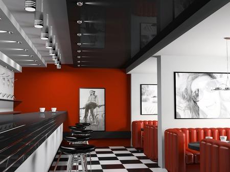 Interior de la barra de moda con las sillas de la cafetería