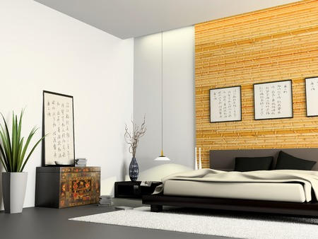 Interior of modern bedroom with Chinese furniture 3D rendering photo