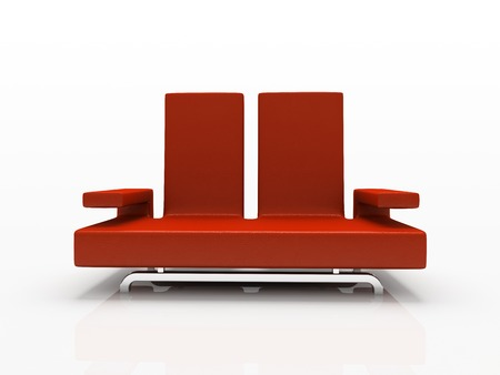 red sofa: Red sofa on white background Stock Photo