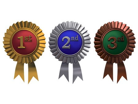 Reihe von Gold-, Silber-und Bronze-Medaillen auf wei�em Hintergrund Lizenzfreie Bilder