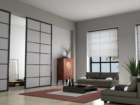 Home interior with Chinese furniture 3D rendering Stock Photo - 1498114