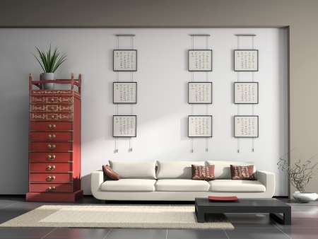 Home interior with Chinese furniture 3D rendering photo