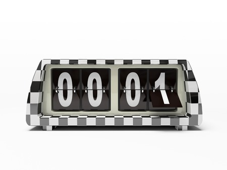 Black-and-white watch - counter isolated on white background photo