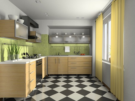 Interior of modern kitchen 3D rendering photo