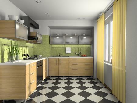 supper: Interior of modern kitchen 3D rendering