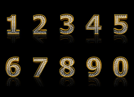 four in one: Modern numerals isolated on black background Stock Photo