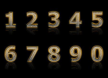 five objects: Moderno numeri isolati su sfondo nero